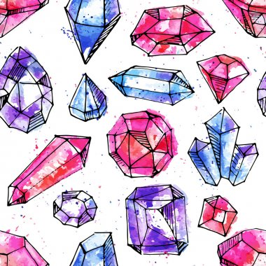 Watercolor bright hand-drawn gems seamless background