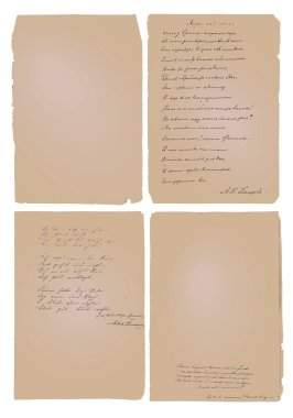 Hand written poems and notes (set of vintage vector backgrounds)