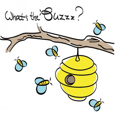 Bees with Beehive vector drawing