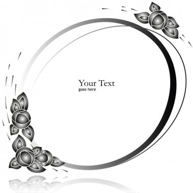 Oval Frame with Flowers (vector)