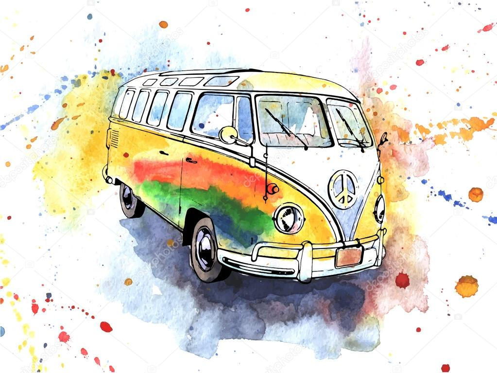 Watercolor Hand Drawn Old Fashioned Hippy Bus Stock