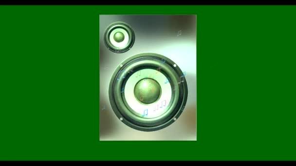 Altoparlanti che gioca musica con note di volo. Sfondo verde. HD