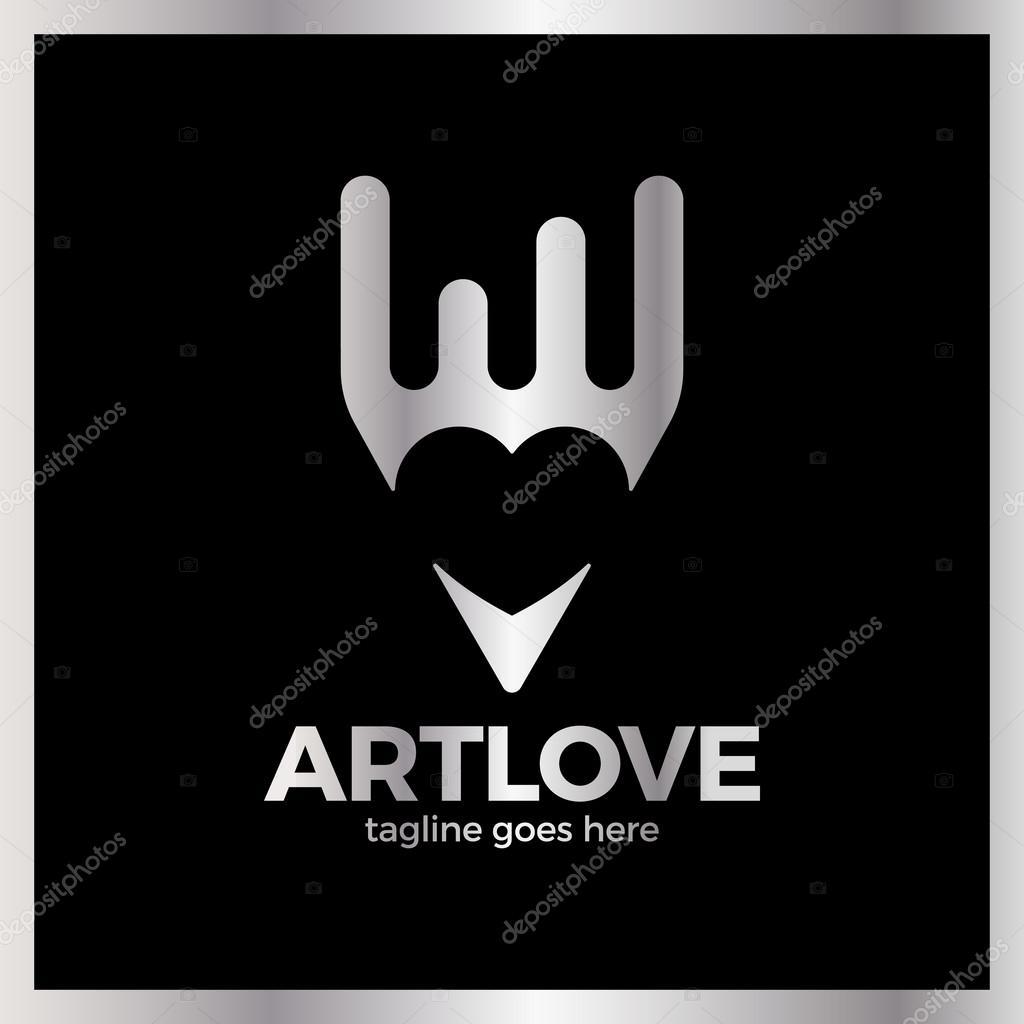 Love Art Pencil Logo Stock Vector