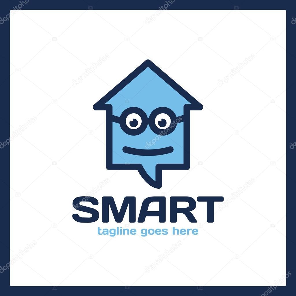 Simple Minimalist Logotype Smart Geek Home In Glass With Bold Outline Arrow Up House