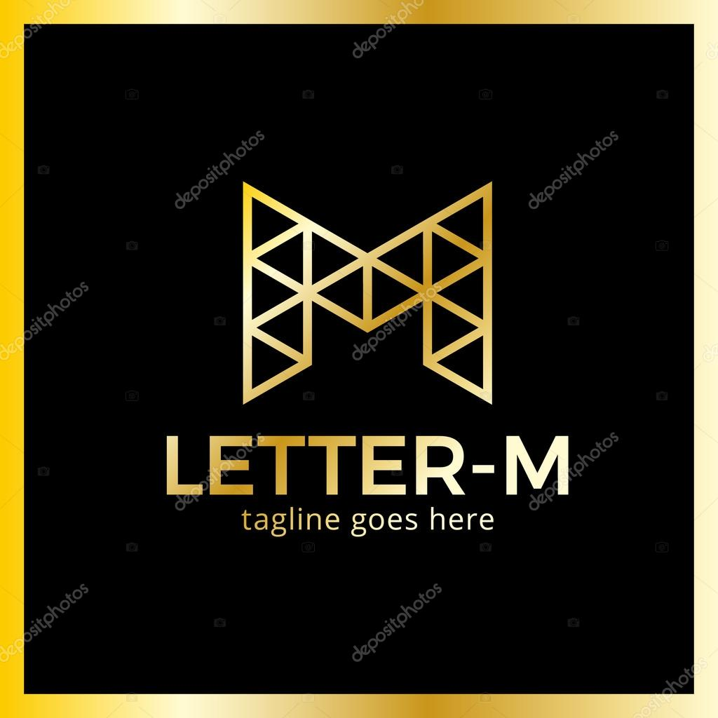 Modern stylish triangle poly logo letter M  — Stock Vector