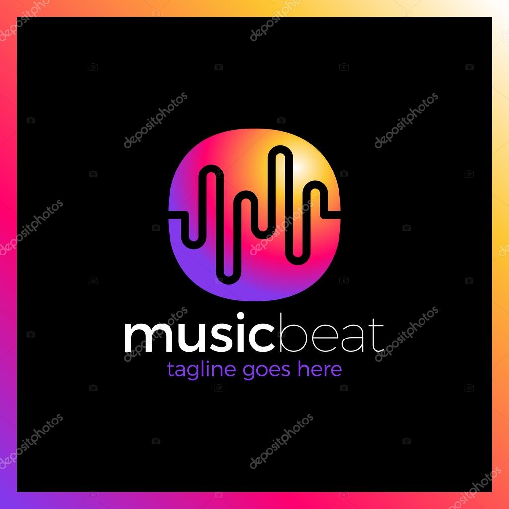 Logo template sound wave, dj, audio system, store. Brand, branding ...