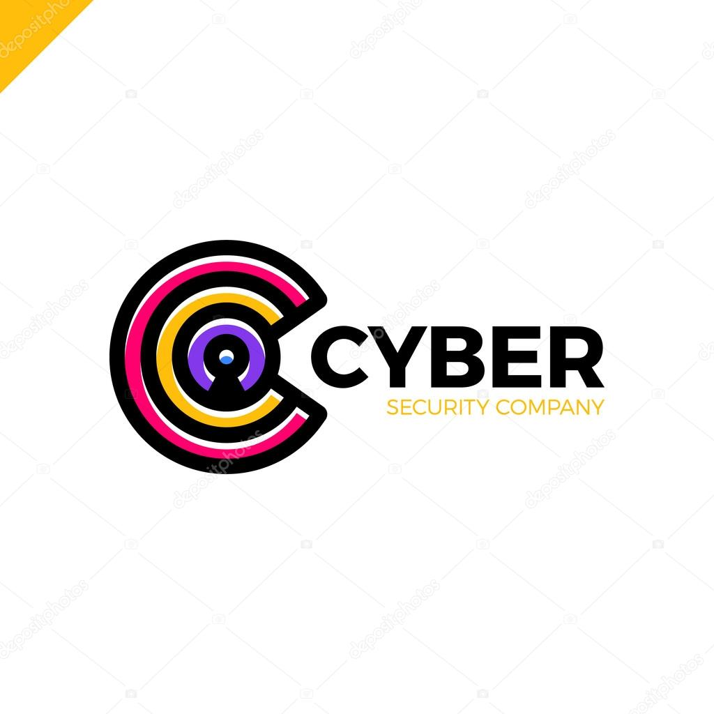 cyber security and defender line letter c logo icon design template