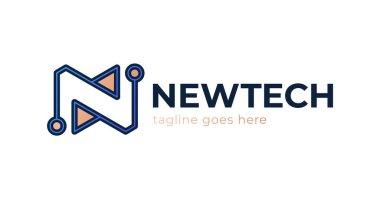 letter N tech logo design template. Letter N Tech Logo Design Icon Vector Stock Template Icon. Alphabet initial N logo Line Design Technology Digital