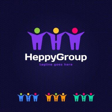 Social Network logo, Group of 3 people, friend, team member, women, girl, child, business men. Letter H