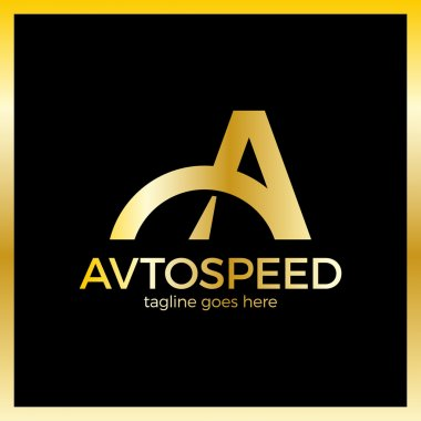 Letter A Logo - Auto Speed. Luxury, royal, gold metal