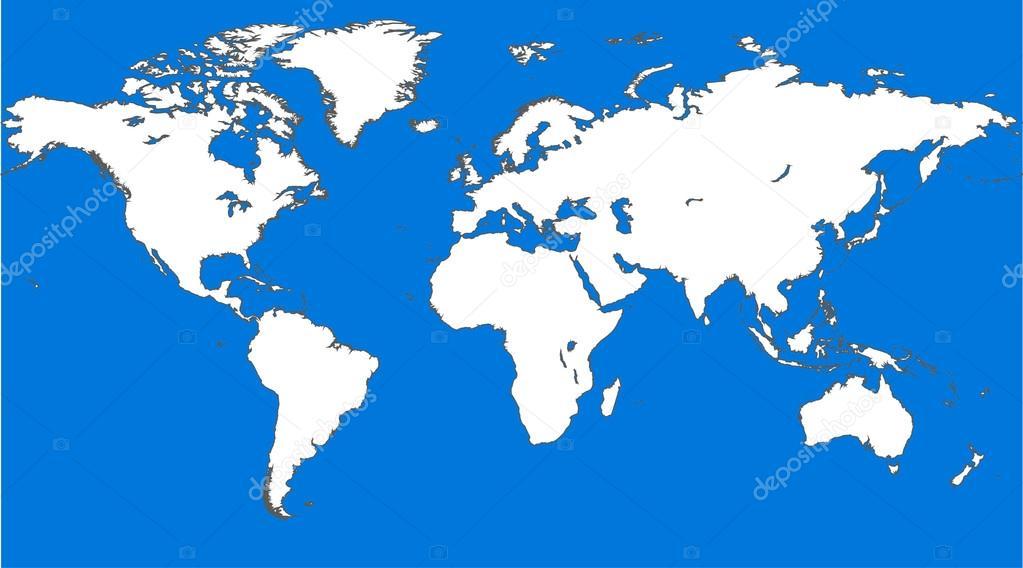Vector Clean World Map Blue Similar World Map World Map Blank