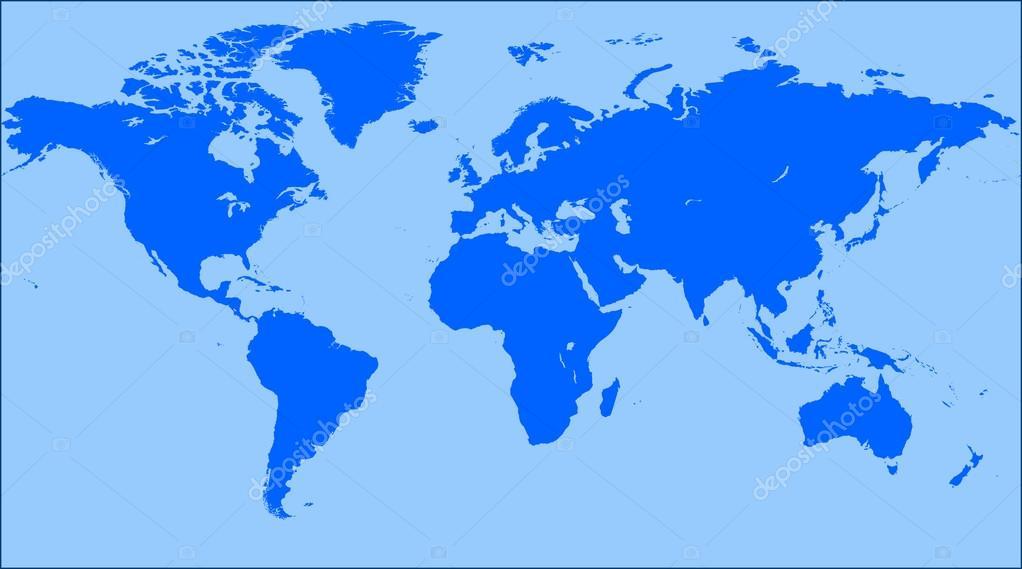 Mapa de mundo similar azul. Mapa mundo en blanco. Vector de mapa ...