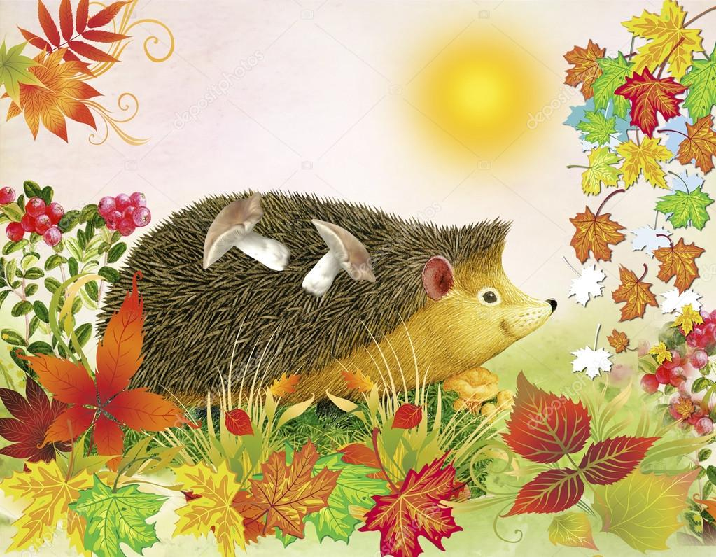 Childrens illustration. Fall background. The hedgehog bears on a back mushrooms among autumn leaves.