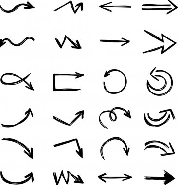 Isolated vector hand drawn arrows set on a white background