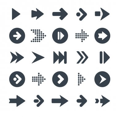 Arrow sign icon set. Simple circle shape internet button on gray background. Contemporary modern style. This vector illustration web design elements saved