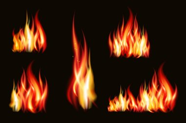 Fire flame strokes realistic isolated on black background vector illustration