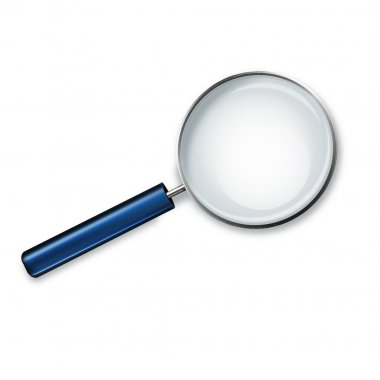 Magnifying glass with blue handle isolated on white background vector illustration