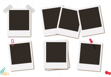 Photo frames retro instant picture black cards  vector illustration.