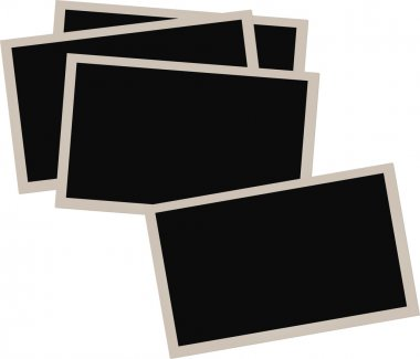 Pile of old photographs isolated on white background
