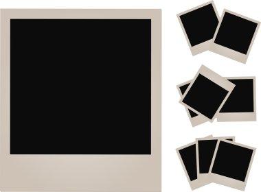 Set of empty photos on white background