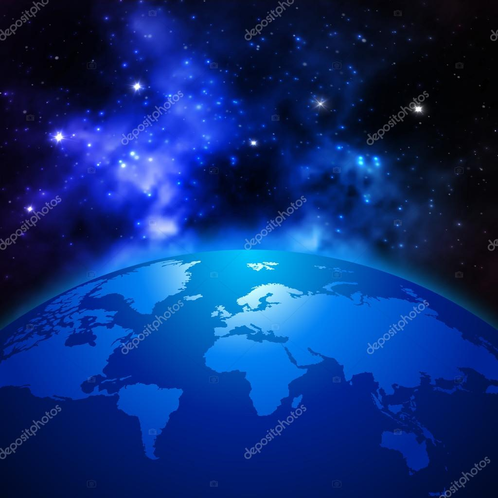 Creative Abstract Global Communication Scientific Concept Space - World map from outer space