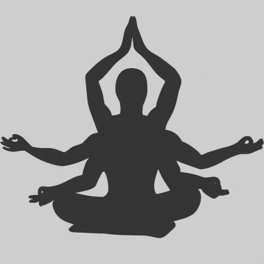 Indian yogi textured Silhouette with linear pattern inside. Man meditates in Lotus pose. Vector illustration. Spa consent, yoga studio. Trendy print for shirts. Creative typography poster or card.