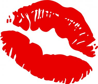 Big red lips track on white background