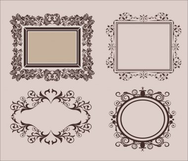 Wicker lines and old decor elements in vector. Vintage borders  frame in set.  page decoration.  for wedding album or restaurant menu. Calligraphic design