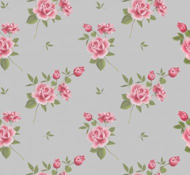 Beautiful seamless floral pattern, flower vector illustration. Elegance wallpaper with of pink roses on floral background.