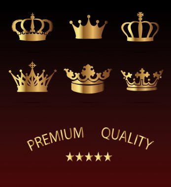Crown Icons Set - Isolated On Black Background - Vector Illustration, Graphic Design, Editable For Your Design
