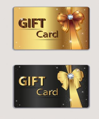 Gift coupon, gift card, discount card, business card, gold and black, bow, ribbon. Holiday background design for invitation, ticket. Vector