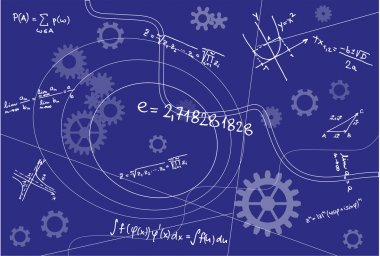 Mathematical Geometry Signs On Blue Background