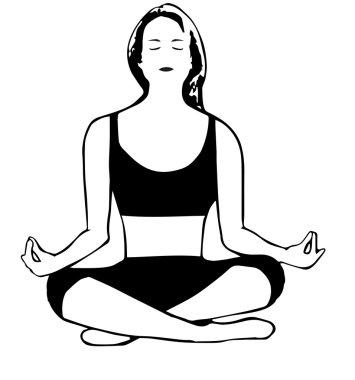 Meditating girl in cartoon style