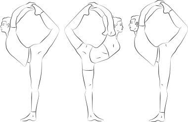 Vector yoga illustration. Yoga set. Yoga exercises. Women yoga. Yoga class, yoga center, yoga studio. Yoga poster. Sketch with yoga asana. Girl does yoga exercises. Healthy lifestyle.