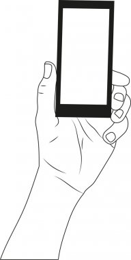 Mobile black phone in the hand isolated on white