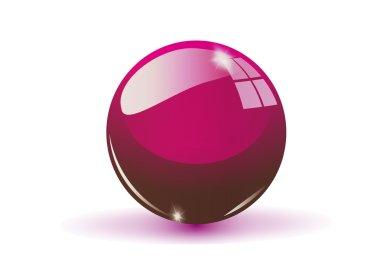 Glass sphere, claret vector ball.