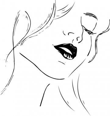 Beauty girl face. Abstract woman face. Vector.