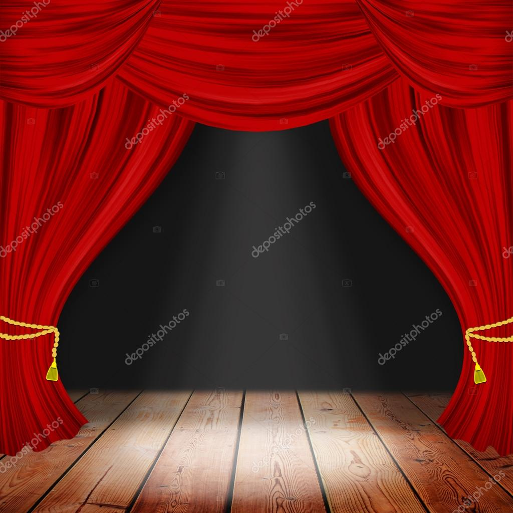 Theater stage with red curtains and spotlights. Theatrical scene