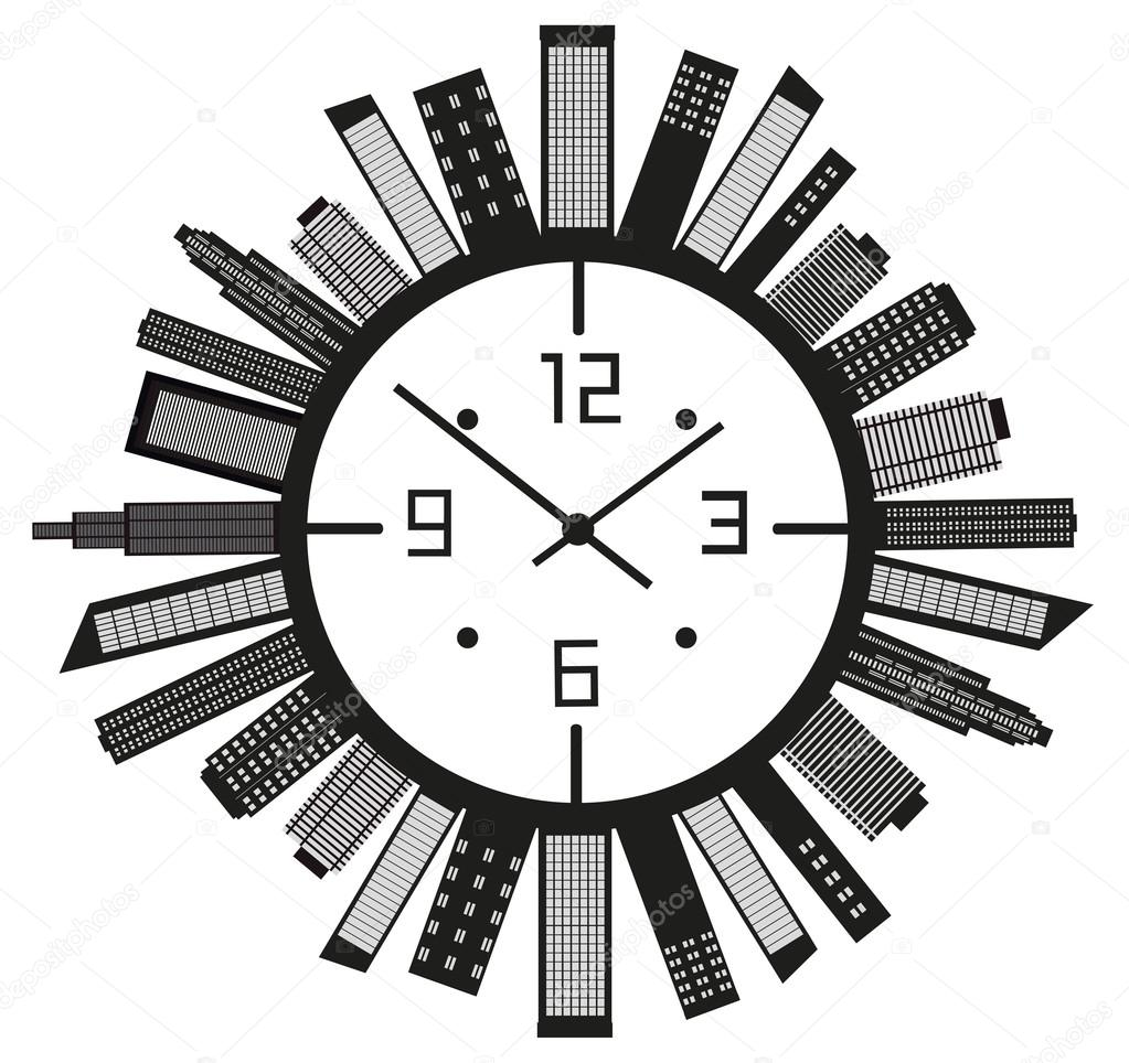 Clock with buildings.