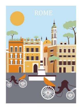 Rome city street in sunny day
