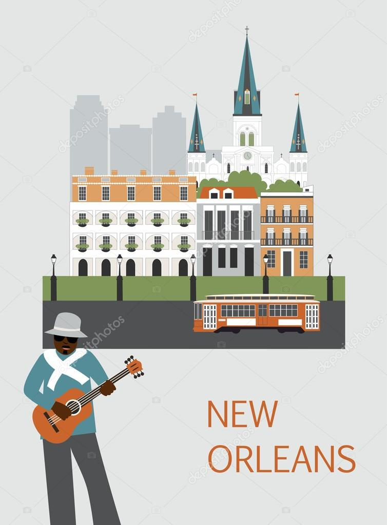 Man with guitar in New Orleans