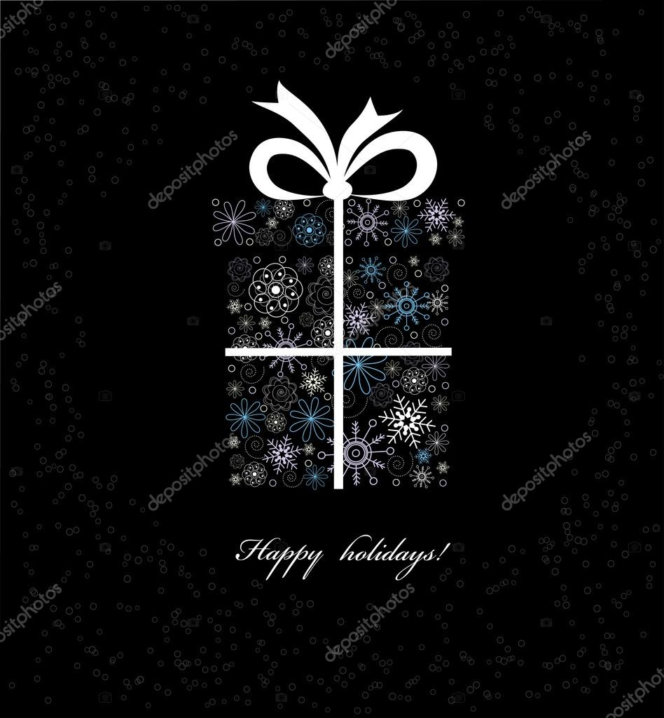 Vector Illustration Of Christmas Gift Box From Colored Snowflakes On Black Background Premium Vector In Adobe Illustrator Ai Ai Format Encapsulated Postscript Eps Eps Format
