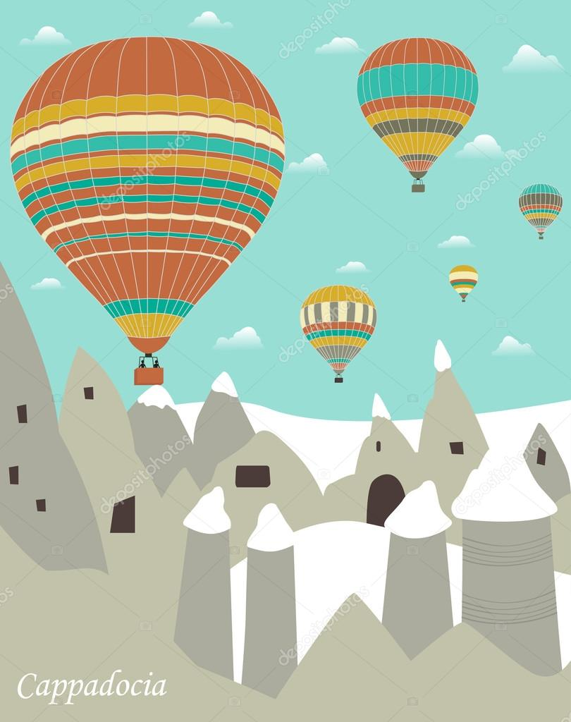 Hot air balloons flying over rock