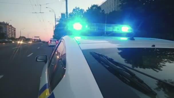 Politie auto Led strobe lichtbalk, knipperende blauwe lichten ...