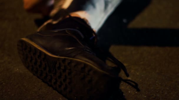 Police Making Chalk Outline Of Dead Body On Crime Scene Suicide Investigation Stock Video