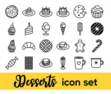 Desserts vector icon set. Cute sweets and pastry icons collection. Minimalist line art. Ultimate pack for bakery, pastry shop, web sites and apps. Pixel perfect. Trendy design. icon