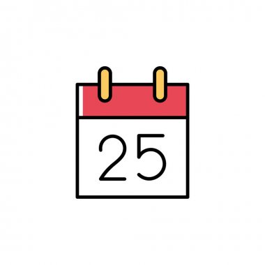 Cute tear-off calendar with 25 December vector icon in trendy minimalist style for Christmas. Tear-off calendar isolated on white background. Line art. Black, white, red and yellow colors. icon