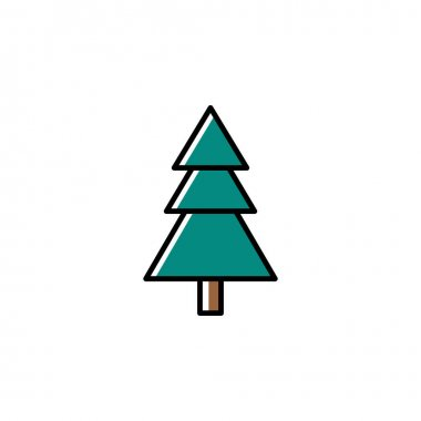 Fir tree vector icon in trendy minimalist style for Christmas. Cute Christmas fir tree isolated on white background. Winter holidays decoration. Line art. Black, white and green colors. icon