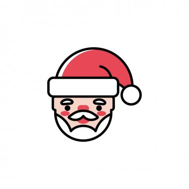 Santa Claus head vector icon in trendy cartoon style for Christmas and New Year. Cute colorful outlined Santa character isolated on white background. Winter holidays decoration. icon