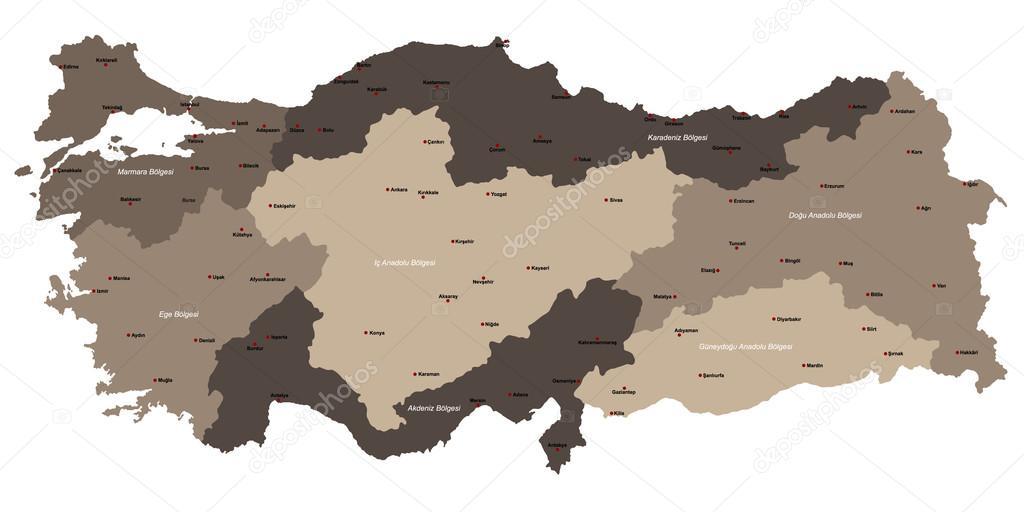 Map of Turkey — Stock Vector © Malachy666 #108417018
